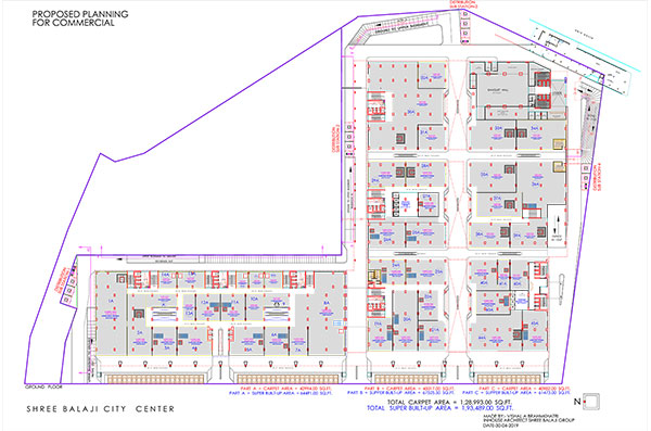 shree balaji agora city center vadodara ground floor plan