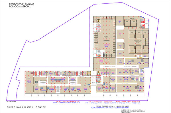 shree balaji agora city center vadodara second floor plan